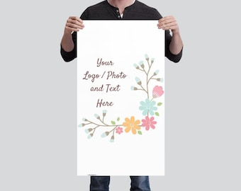 1.7' x 3' Small Vertical Banner Use Own LOGO or PHOTO Design Custom Personalized Stand Option Available