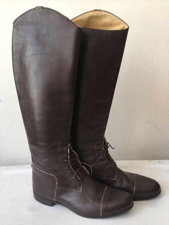 woman leather USA brown women's Chic boots high of of made in 10 1 made style size police boots in the quality 2 CYxx061qKw