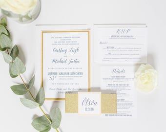 Gold Glitter Blush Glam Wedding, Rose Gold Wedding Invitation SAMPLE