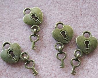 Antique Bronze Heart Lock and Key Charm Pendants 15mm x 12mm Nickel Free 847