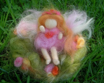 Fairy Bendy with Fairy Bed - needle felted wool angel Waldorf Inspired by Rebecca Varon