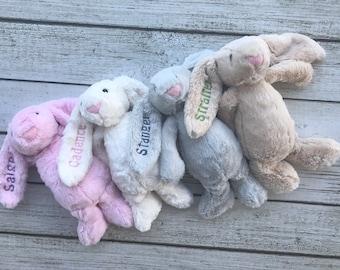 SALE Monogrammed Easter Bunny, Monogram, Easter Rabbit, Easter Basket, Easter, Plush, Bunny, Stuffed Bunny, Pink, Blue, Beige, Lavender