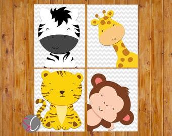 Jungle Animals Nursery Zoo Wall Art Decor Giraffe Zebra Monkey Tiger Chevron Grey Gender Neutral 8x10 Digital JPG Files Instant Download
