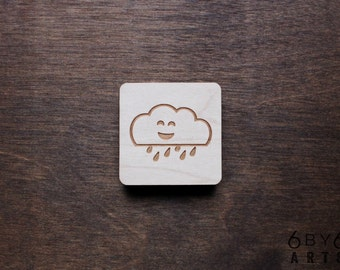 Happy Rain Cloud - Laser Engraved Wood Magnet Pacific Northwest Themed - Happy Places Series