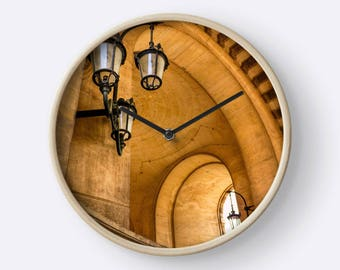 Lamps and Curves at the Louvre Wall Clock