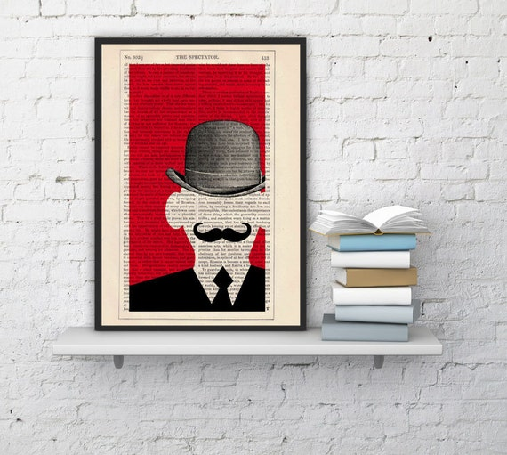 Mr Moustache - Moustache Collage Poster - upcycled art collage book print TVH093