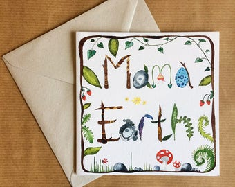 Greeting Card - Mama Earth - Eco Friendly FSC recycled Biodegradable - Watercolour Painting - Mothers Day - Happy Birthday - Blank Inside