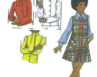 Butterick 1970s Sewing Pattern High Neck Blouse Ruffle Collar Bow Tie Neck Sleeveless Romper Jumper Scoop Neckline Girl's Breast 26