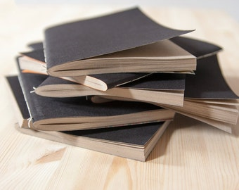 Black Cotton Fabric Softcover Notebooks | Blank | Brown recycled paper | Sketchbooks | Journals