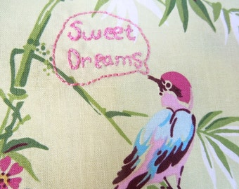 Sweet Dreams Reversible Hand-Embroidered Pillowcase in Bamboo Bird Print