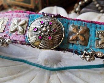 Kantha Quilt Choker,  Bohemian Tribal Choker, Textile Choker, Afghan Choker, Gypsy Necklace, Bohemian Collar, Tattered Textile Choker, Boho