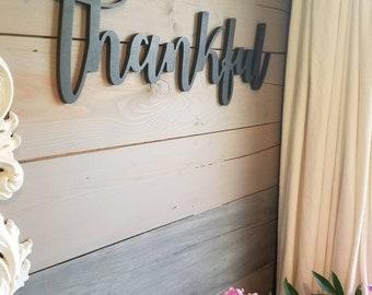 Thankful Sign, Thankful Word Sign, Farmhouse Decor, Thankful Word Cutout, Word Art, Thankful Wood Sign, Fixer Upper Decor, Farmstyle