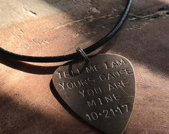 Custom guitar pick necklace guitar pick for dad guitar pick pendant mens leather necklace teen boy gifts boyfriend necklace husband necklace