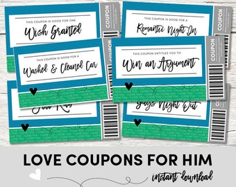 Love Coupons for HIM - Love Coupons - Instant Download - Printable