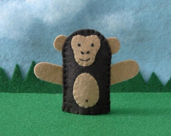 Chimpanzee Monkey Finger Puppet - African Chimp Puppet - Safari Animal Finger Puppet - Felt Animal Puppet