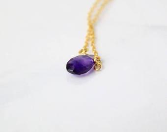minimalist bracelet amethyst bracelet purple gold bracelet gift mom dainty bracelet gem jewelry wife gift teardrop bracelet personalized q4