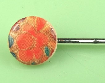 Vintage Lucite Button with Poppy Hairpin