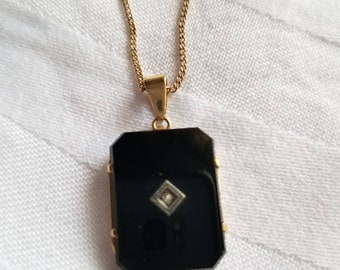 Black Onyx and Gold Necklace with Diamond Center
