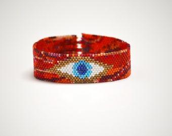 Beaded Eye Bracelet - Thin Cuff - Red Swirl