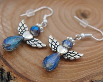bead angel drop earrings, heart and wings guardian angel earrings, iridescent earrings, blue bead earrings, bead jewelry, blue angel dangles