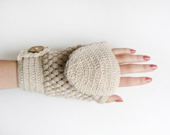 Convertible Crochet Mittens With Flip Top In Beige, Women Wool Gloves, Winter Accessories
