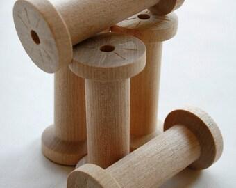 Large Wooden Spools - set of 60 - Natural Wood Thread Spools