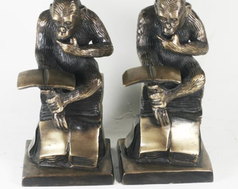 Brass / Bronze Monkey Bookends - Monkeys Reading, Primate