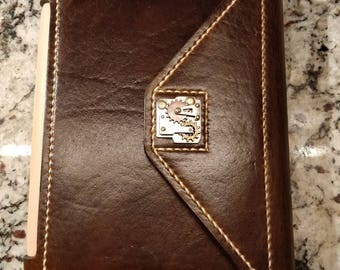 Hand finished, hand stitched leather iPad mini case