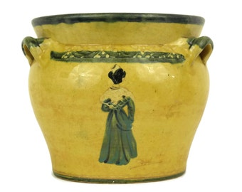 French Pottery Planter with Arlesienne Lady. Rustic Provencale Home Decor & Gifts. Yellow Glazed Pot Plant Holder. Gifts for Gardener.