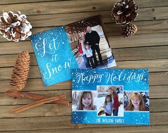 Digital Christmas Card - Customizable - Photo Christmas Card - Let it Snow