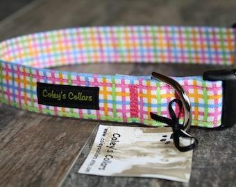 "Dog Collar ""The Pastel Plaid"" Multi Colored Plaid Dog Collar"