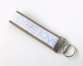 Womens Wristlet Keychain- Womens Key Chain for Her- Womens KEY FOB- Womens Gift Under 10- Wristlet Key Fob- Faith Hope Love Gift for Her