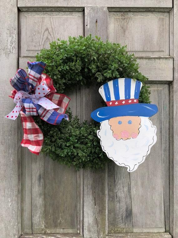 4th of July wreath, Uncle Sam, american wreath, july 4 door hanger, artificial boxwood wreath, summer door hanger, patriotic wreath, Stars a