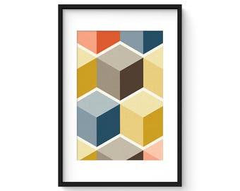 CUBI VIGNETTE no.8 - Giclee Print - Mid Century Modern Danish Modern Minimalist Cube Modernist Eames Abstract