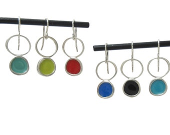 Enamel Earrings - Dangle Red Lime Turquoise Black Violet Mint Earrings