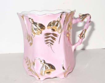 Pink with Gold Leaf Trumpet Vines China Tea Cup Home and Garden Kitchen and Dining Tableware Drinkware Coffee and Tea Cups