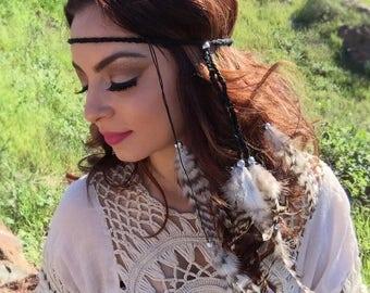 Chinchilla Feather Headband - Feather Hairpiece - Festival Headband - Rave Wear - Hippie Headband - Hair Accessories - Bohemian