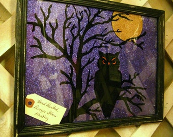 Hand Painted Halloween Black OWL on Glass  - REVERSE PAINTED - Purple Glitter Paper  - 9.5x12 Frame - Halloween Decor, Halloween Decoration
