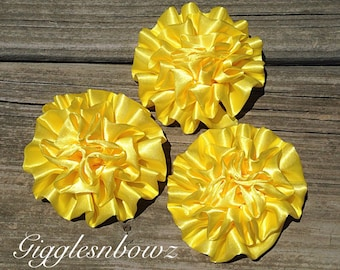 Set of 3 BRiGHT YELLOW Satin Rosettes Puff Flowers
