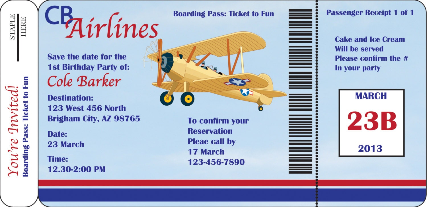 Boarding Pass or Airplane Birthday Party Invitation