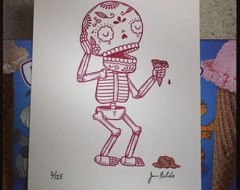 Ice Cream Disaster Limited Edition Gocco Screenprint Day of the Dead Art