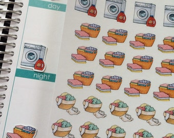 Laundry Basket Stickers,Washing Machine, Chores, Cleaning Stickers, Plum Paper, Fits Erin Condren Life Planner, Stickers