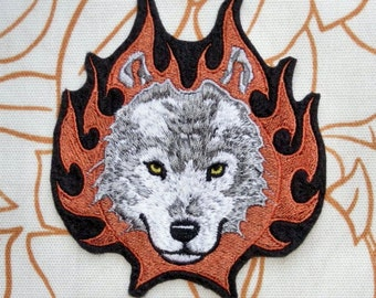 """Wolf Iron On Patch, Wolf Patch,  Flames, Medium, 4.3"""" by 4.7"""" Patch, 100% Embroidered Patch, Wild Dog"""
