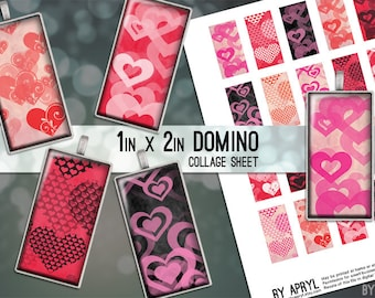 Valentine's Day Hearts Pink Black Red 1x2 Domino Collage Sheet Digital Images for Domino Pendants Magnets Scrapbooking JPG D0046