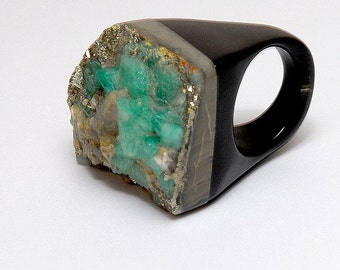 Tierra Square Colombian Emerald and Horn Ring- For Men or Women