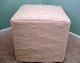 Cube Slipcover Topstitched Cotton Canvas, Small Ottoman Cover, Footstool Slipcover
