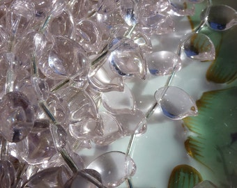 25 Transparent Pink Puffy Leaf or Petal Beads C21
