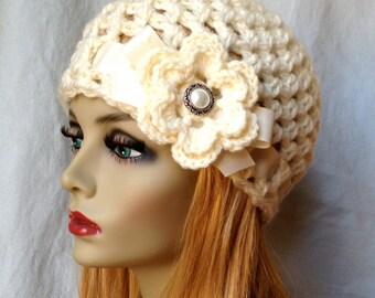 SALE Crochet Womens Hat, Beanie, Cream, Very Soft Chunky, Bridal Hat, Wedding Flower, Ribbon, Cancer, Warm, Teens, Winter, Ski Hat, JE505B2