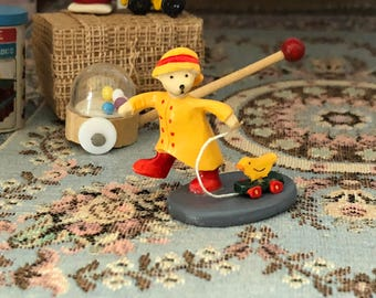 Miniature Teddy Bear Toy, Mini Figurine, Bear With Duck Pull Toy, Dollhouse Miniature, 1:12 Scale, Dollhouse Accessory, Decor, Topper