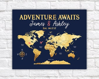 Adventure Awaits Personalize Map, World Map with Antarctica, Wedding Gift Idea, Navy, Coral and Gold Wedding Colors, Push Pin Map | WF291